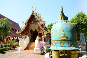 Wat Phra Sing (วัดพระสิงห์) and big bell in Chiang Rai, Thailand