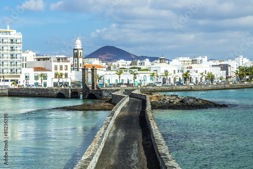 sea view at Castle of San Gabriel and Arrrecife, Lanzarote, Cana