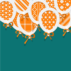 Simple Orange Paper Balloons with Pattern Fill, Lace and Bows on