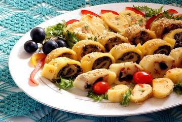 tasty cheese with mushrooms as snack