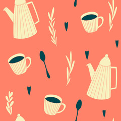 Seamless pattern with cups and teapots. Vector background