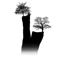 silhouette of a sandstone towers with tree