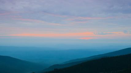 Mountain landscape, sunset. Time lapse.