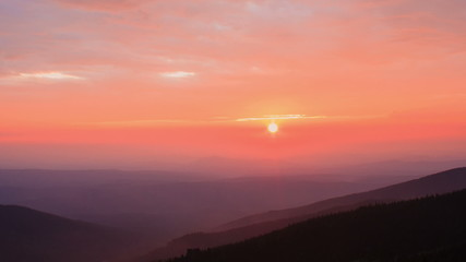 Beautiful sunset in the mountains, time lapse.