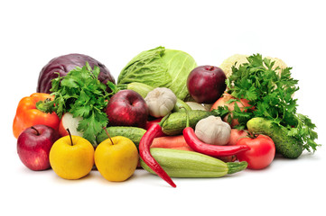 assortment fruits and vegetables on white