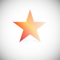 Halftone star, vector illustration.
