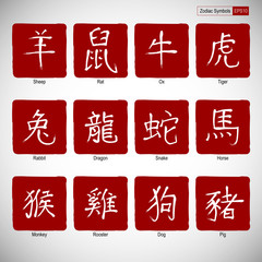 Zodiac symbols calligraphy on red background.