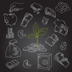 Money tree sprout and financial symbols vector sketch