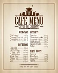 Cafe menu list with dishes name, retro design.