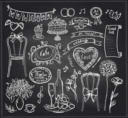 Chalkboard wedding banquet elements.
