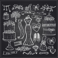 Chalkboard wedding bridal elements set.