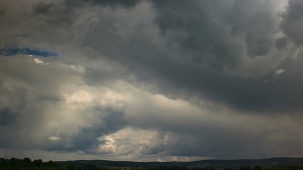 Rain clouds moving fast, time lapse.