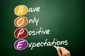 HOPE, business concept on blackboard
