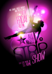 Strip show party design with stripper woman.