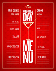 Valentines day menu list design with dishes and drinks.