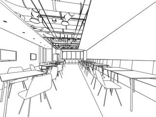 outline sketch of a interior