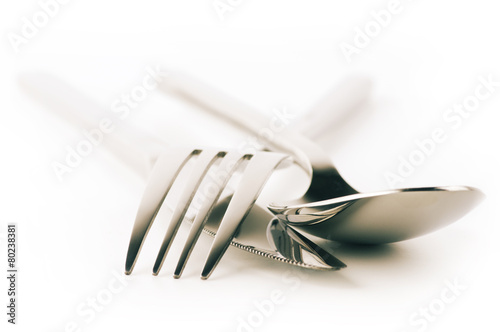 Fork, spoon and knife on white - 80238381
