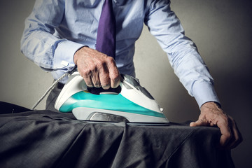 Man doing the ironing