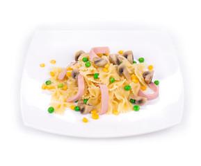 Pasta farfalle with ham and mushrooms