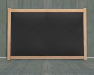 Wooden frame of blank blackboard with dark green wood room