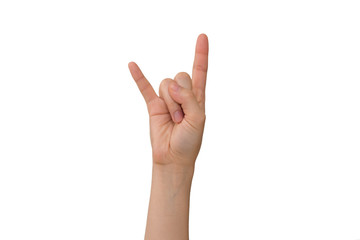 Young Lady's Right Corna Hand Sign