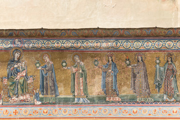 Mosaic facade of Santa Maria in Trastevere church in Rome