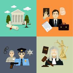 Vector law illustration set