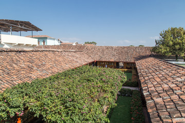Background of old roof tiles from colonial House in Nicaragua