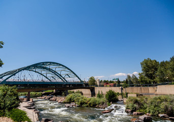 Platte River Under Bridge in Denver