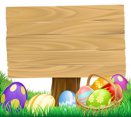 Wooden Easter Egg Sign