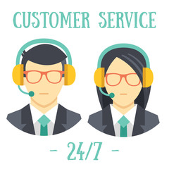 Man and women with headsets. Call center avatar icons.