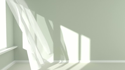 Empty room with sunlight and the curtains developed by a wind