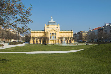 Fountain and art pavilion in park in center of Zagreb