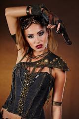 Steampunk woman over gunge background. . Fantasy fashion for cov