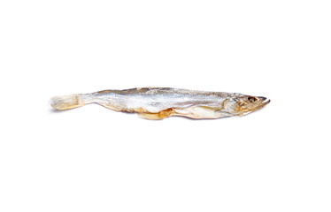 Dried salted fish isolated on white background