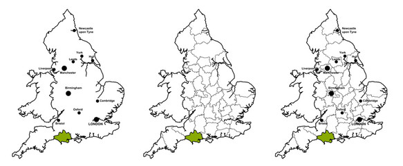 Dorset located on map of England