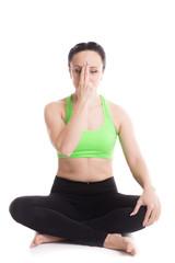 Nadi sodhana pranayama in yoga pleasant pose
