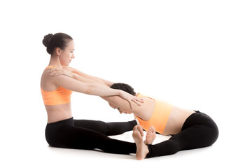 Yoga with partner, Wide-Angle Seated Forward Bend Pose