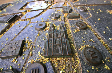 Cathedral on the metal map of the park in Prague