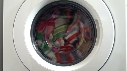 Detail of washing machine in action