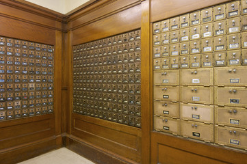 Mailboxes lined