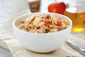 Granola and muesli in a bowl