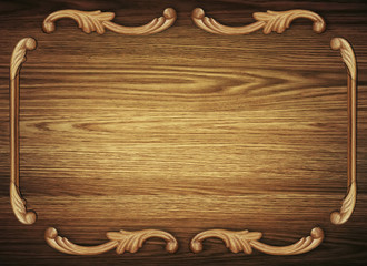 Wooden texture with decorative antique pattern