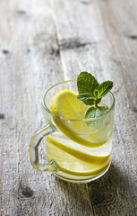 tea with lemon, mint