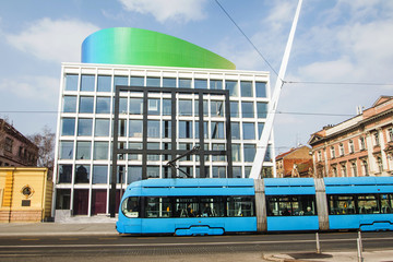 Tram passing by music academy building in Zagreb, Croatia