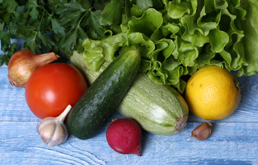 vegetables on а blue wooden table
