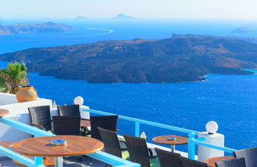 Balcony view on Santorini, Greece