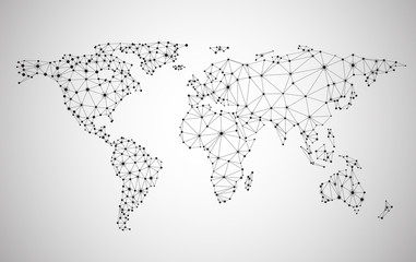 Global network mesh. Earth map.