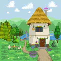 Cartoon House. Vector Illustration.