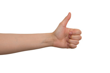 Young Lady's Left Thumb Up Hand Sign